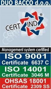 DUO BACCO d.o.o. - Certificate